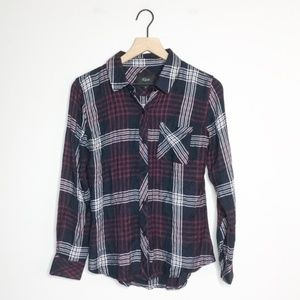 Rails Black / Red Plaid Button Down Blouse XS